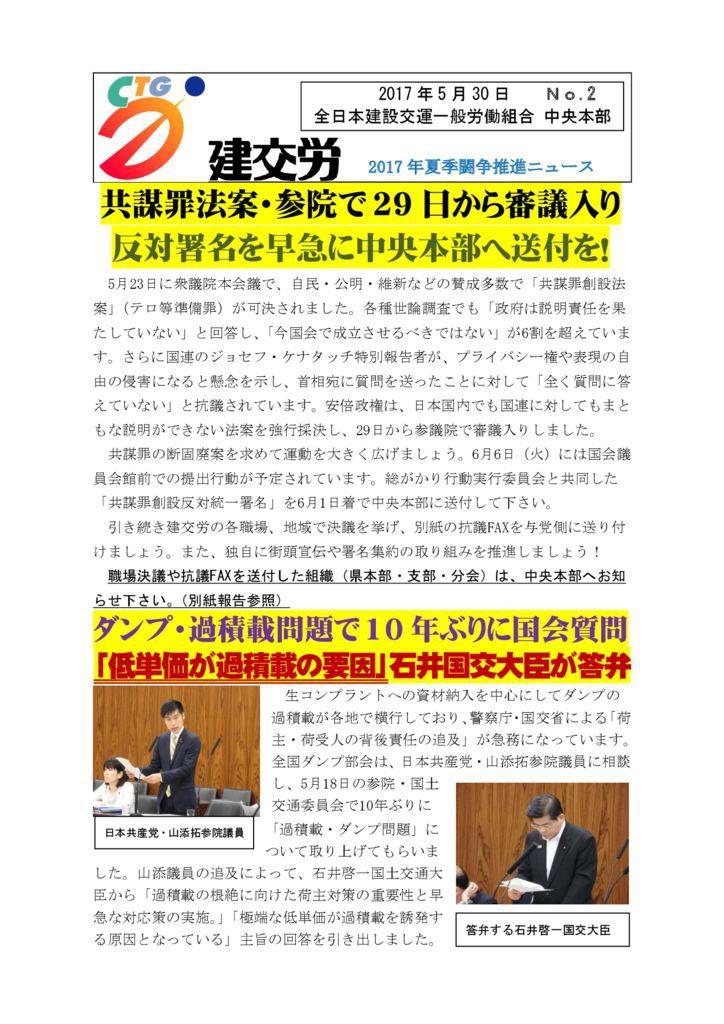 2017年夏季闘争推進ニュース No.2