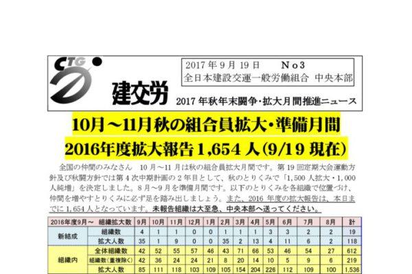建交労秋年末闘争・拡大月間推進ニュース No.3