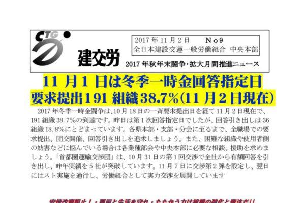 秋年末闘争・拡大月間推進ニュース No.9