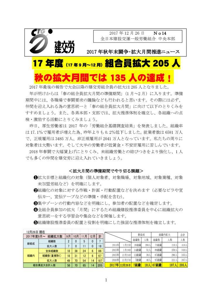 秋年末闘争・拡大月間推進ニュース No.14