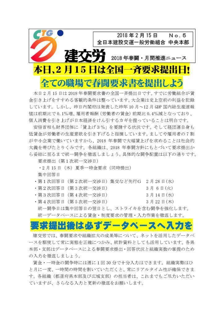 建交労春闘・月間推進ニュース No.5