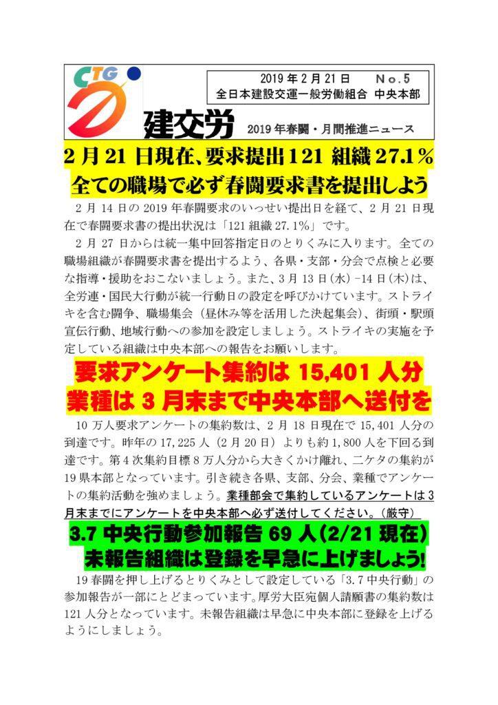 2019春闘・月間推進ニュース No.5