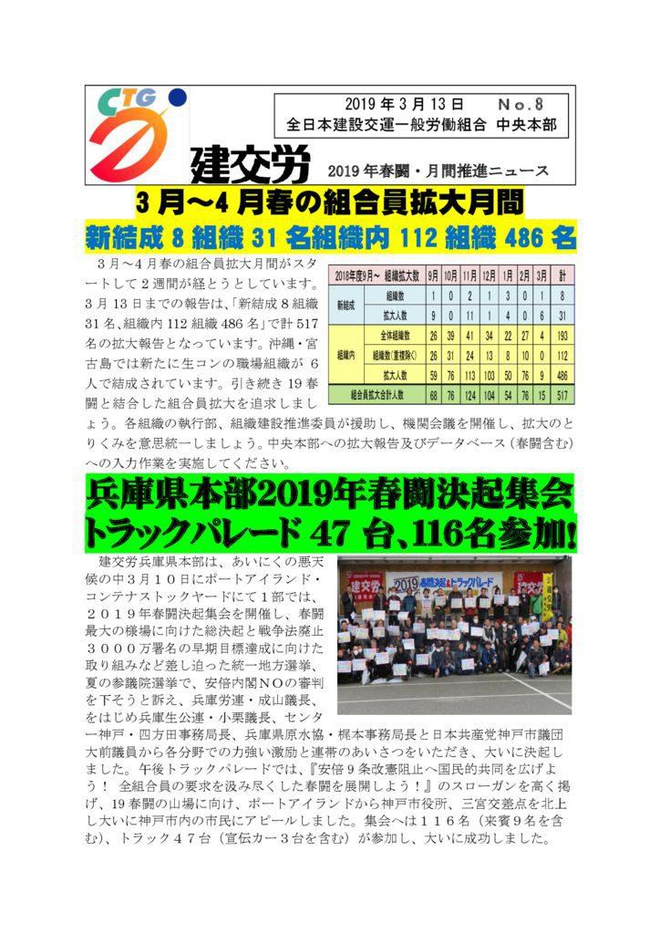 2019年春闘・月間推進ニュース No.8