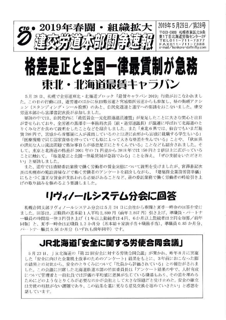 北海道本部春闘闘争速報 No.28