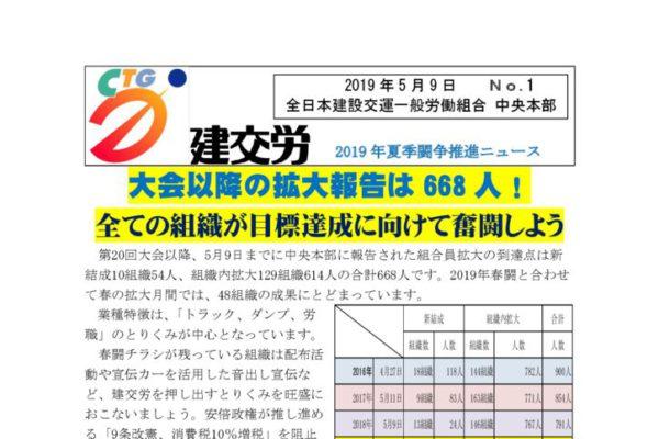 2019年夏季闘争推進ニュース No.1