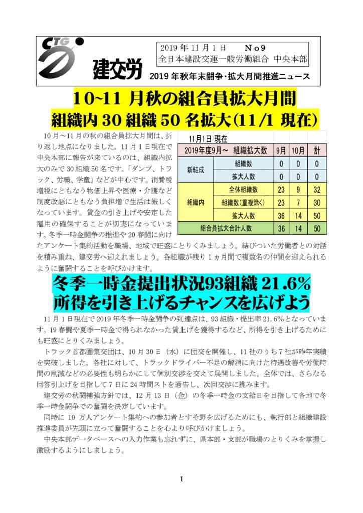 2019年秋年末闘争・拡大月間推進ニュース No.9