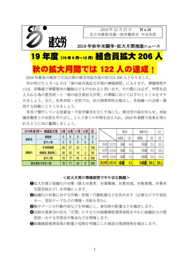 2019年秋年末闘争・拡大月間推進ニュース No.15