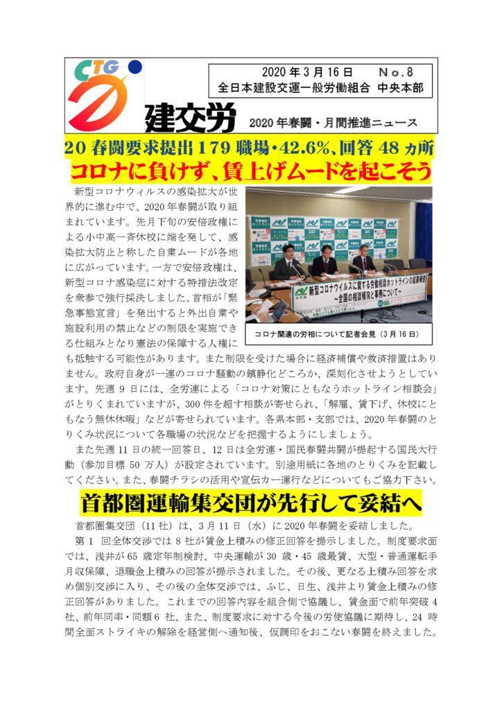 2020年春闘・月間推進ニュース No.8