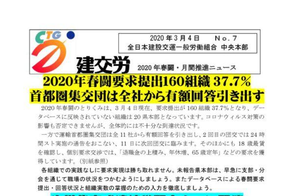 2020年春闘・月間推進ニュース No.7