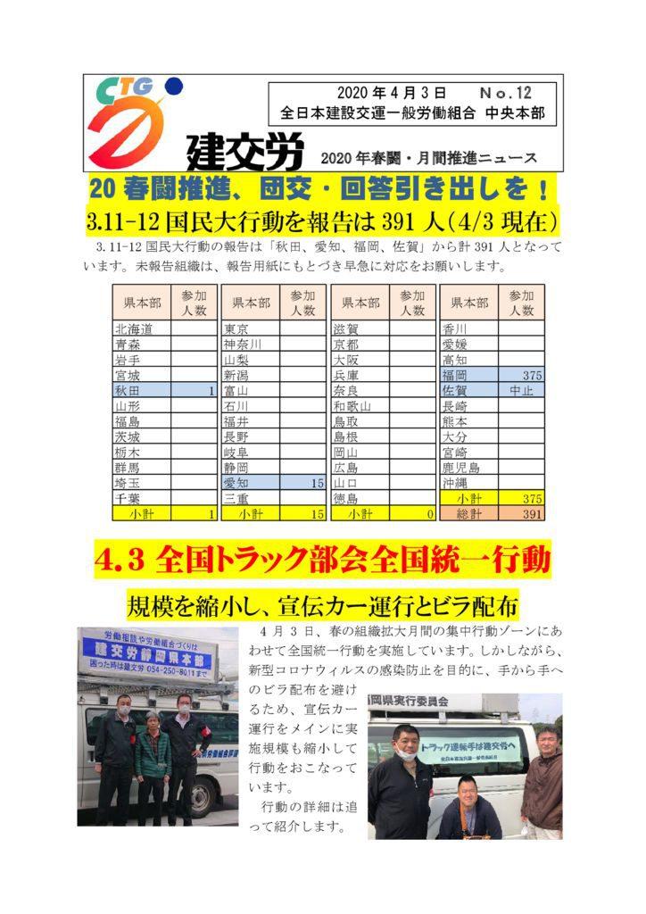 2020年春闘・月間推進ニュース No.12
