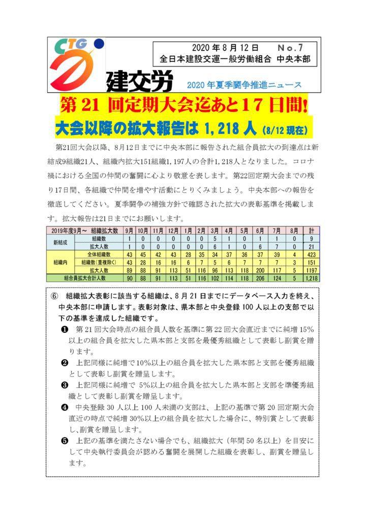 2020年夏季闘争推進ニュース No.7