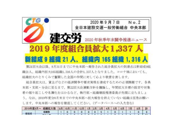2020年秋年末闘争推進ニュース No.2