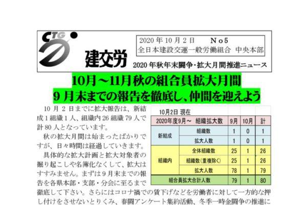 2020年秋年末闘争・拡大月間推進ニュース No.5