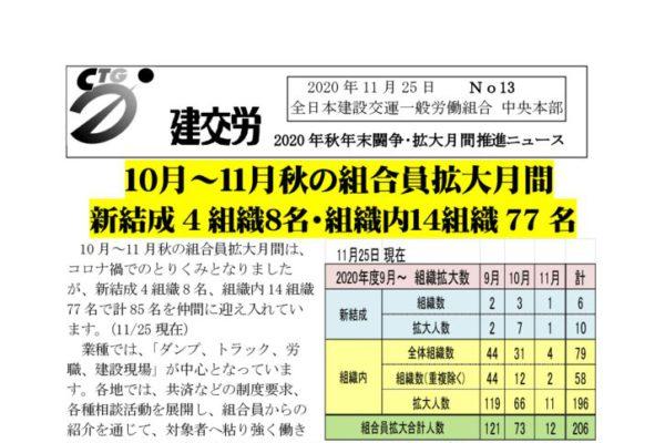 2020年秋年末闘争・拡大月間推進ニュース No.13