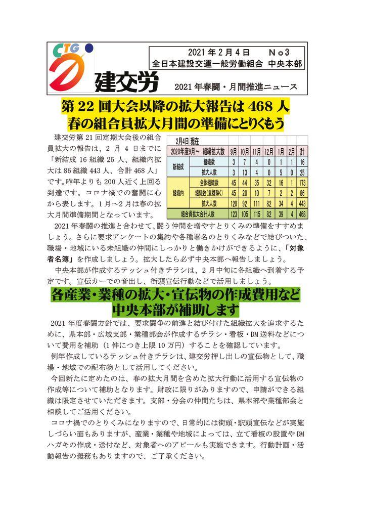 2021年春闘・月間推進ニュース No.3