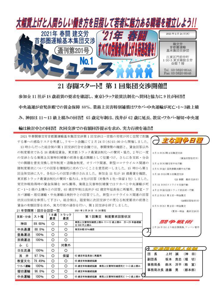 【首都圏集交団】集交ニュース 通刊第201号