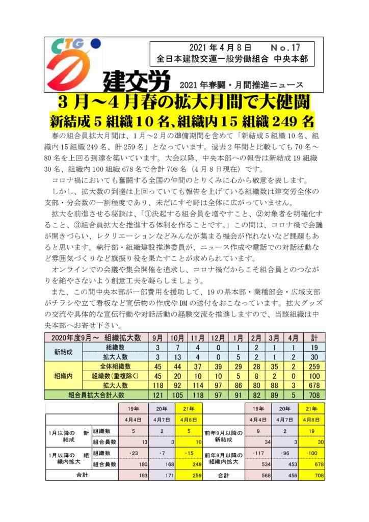 2021年春闘・月間推進ニュース No.17