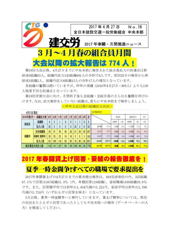 2017年春闘・月間推進ニュース No.16