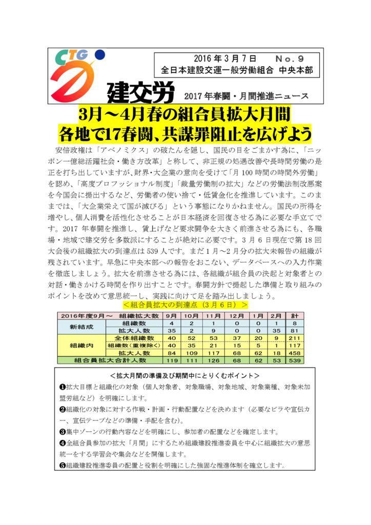 2017年春闘・月間推進ニュース No.9